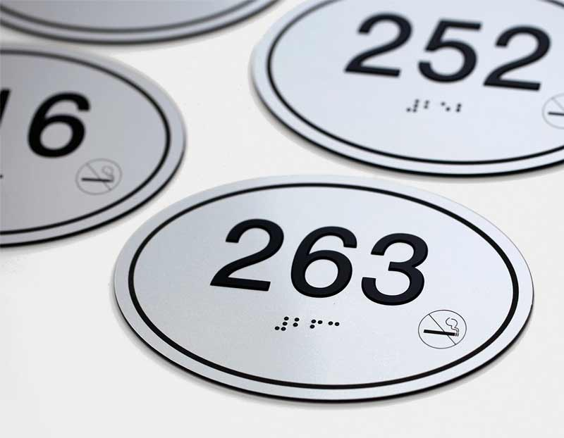 Apartment & Hotel Room Number Signs | Oval Room Number Signs | ADA ...