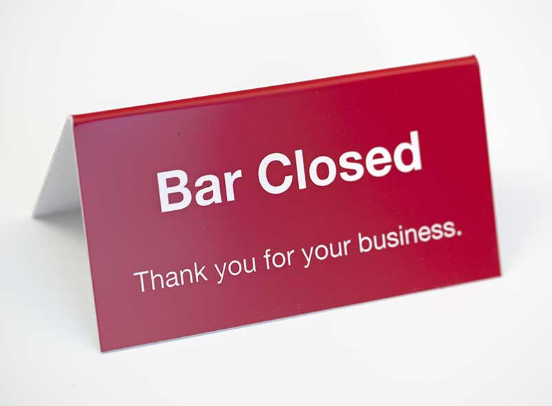 Bar Closed Sign Next Counter Tent Two Sided