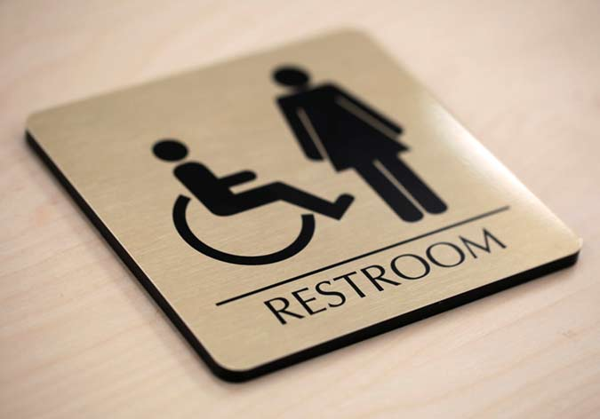Premium Restroom Signs Brushed Metal Bathroom Door Signs Custom Office Signs