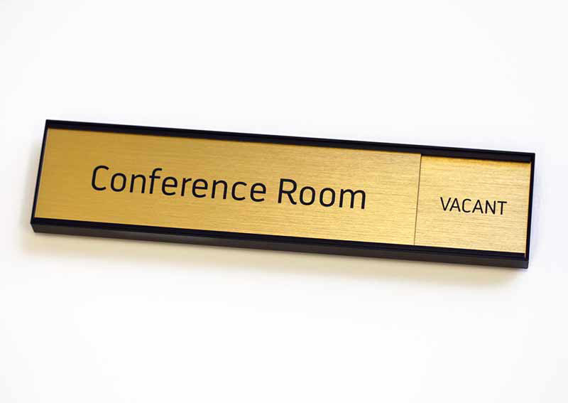 Meeting Room In Use Sign Conference Room Number With Slide Brushed - Conference room door signs for offices