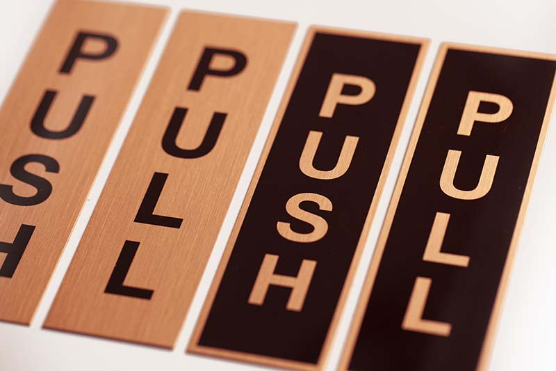 Door Signs Push Pull Signage Real Copper Sign Set