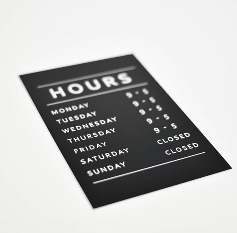 Engraved Office Hours Sign