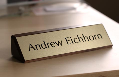 Well-liked Solid Wood Desk Signs | Walnut Desk Signs | Wooden Office Signs RH62