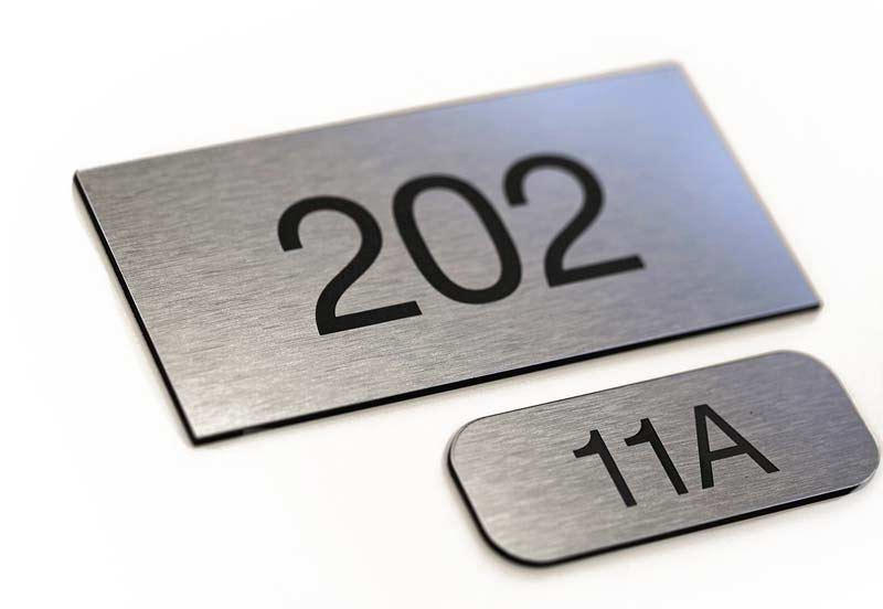 Laser Engraved Room Numbers | Small Acrylic Door Signs