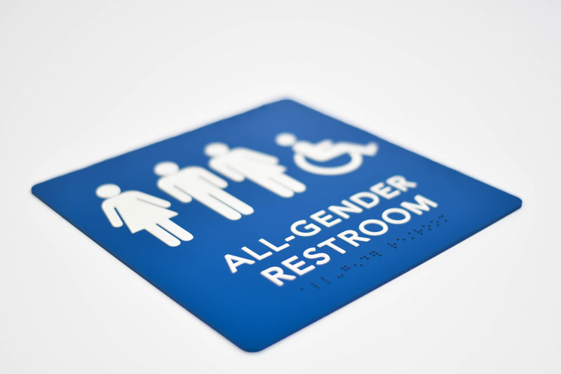 gender neutral ada compliant braille restroom signs - All Gender Bathroom Sign
