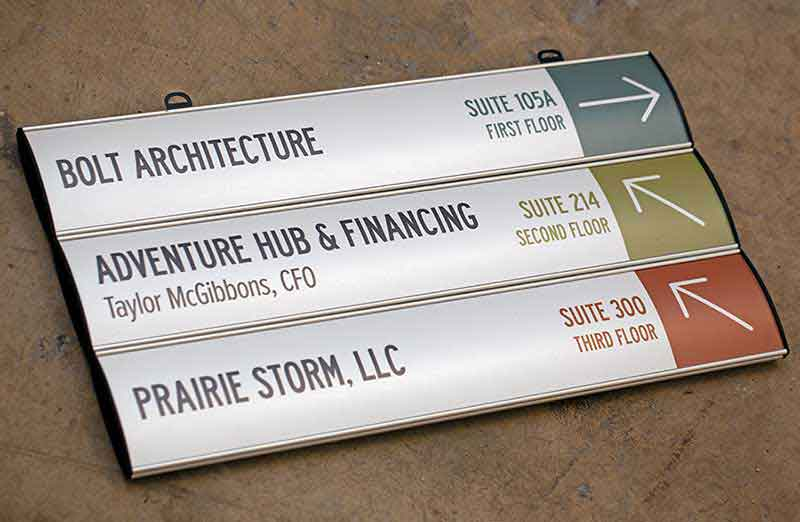 Interchangeable Ceiling Signs With Multiple Panels