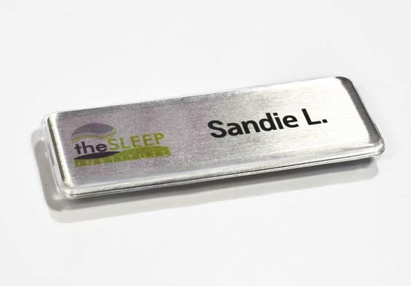 hotel name badge tags with protective lens