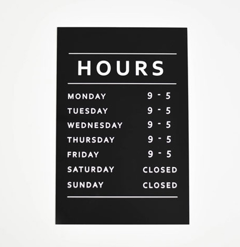 engraved office hours sign store hours sign
