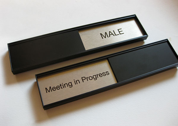 Sliding Office Door Signs Black GSA Slider Meeting In Session - Conference room door signs for offices
