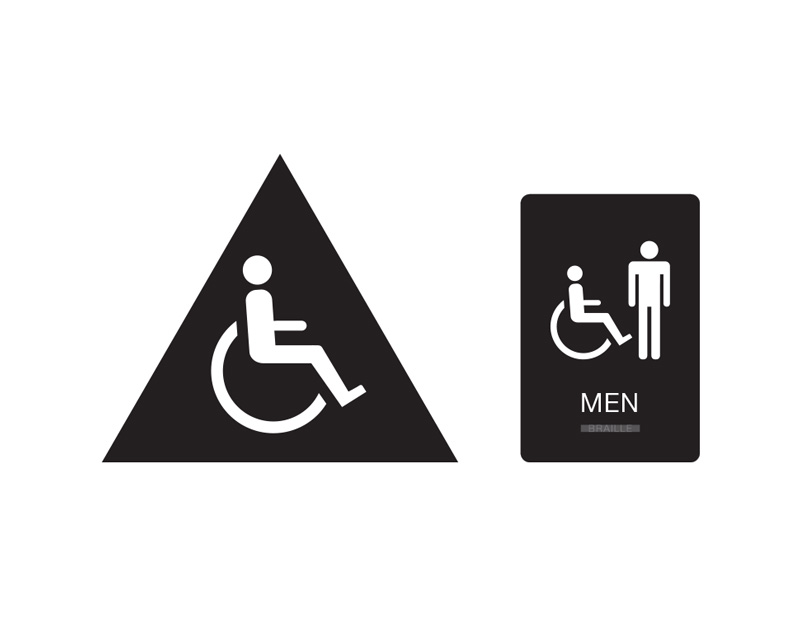 Mens Handicap Accessible Restroom Sign Black With White Tactile