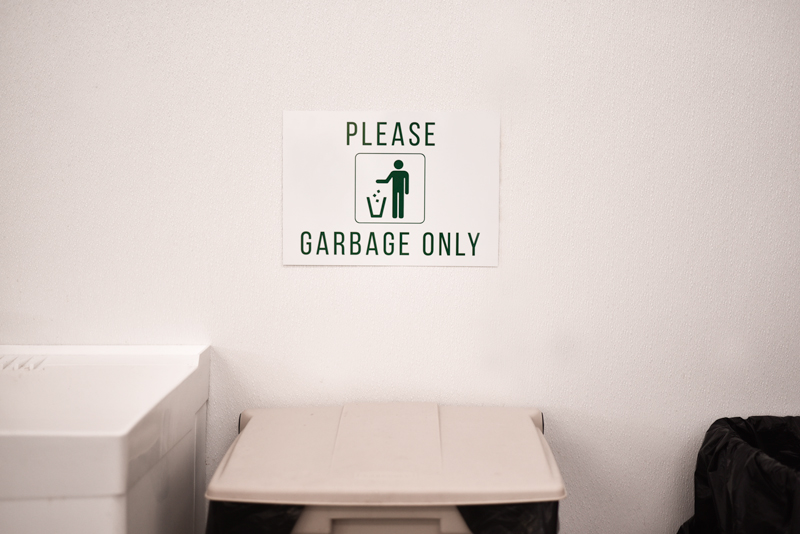 Garbage Only Receptacle Signs Brushed Aluminum Signs