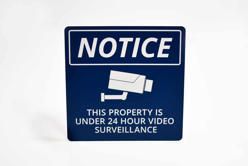 camera on site sign surveillance office signs