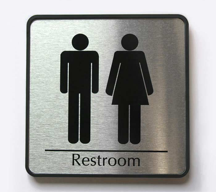 Business Restroom Sign In Brushed Metal