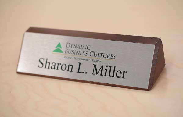 Solid Wood Desk Signs | Walnut Desk Signs | Wooden Office Signs