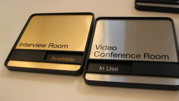 Conference room signs sliding availability office signs for Interior design office names