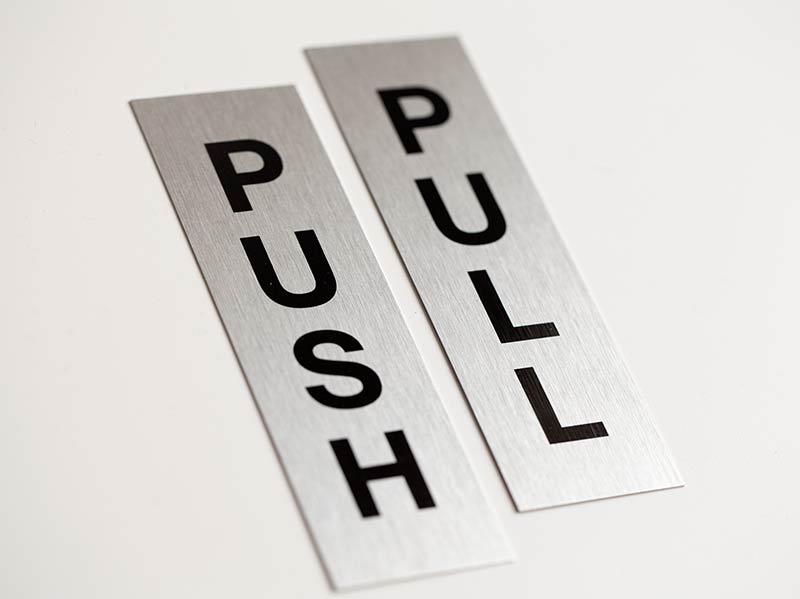 Font List Push Pull Door Signs Brushed Metal