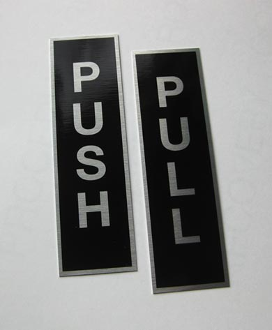 Push pull door signs