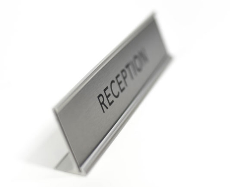 Desktop Reception Sign | Satin Silver Reception Desk Sign