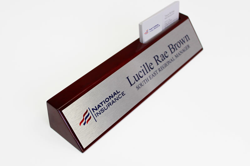 Business card holder desk sign solid wood desk signs desk name plate office desk sign with business card slot colourmoves