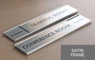 Silver Office Signs Corporate Sliding Door Signs Brushed Metal - Conference room door signs for offices