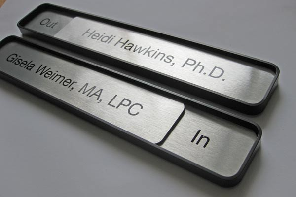 Sliding Message Office Name Plate Signs Interior