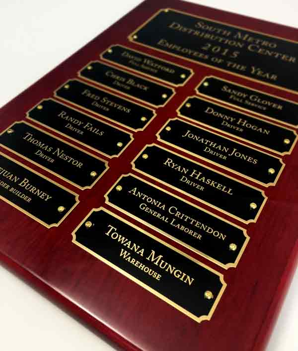 rosewood plaque with header office recognition employee awards. Black Bedroom Furniture Sets. Home Design Ideas