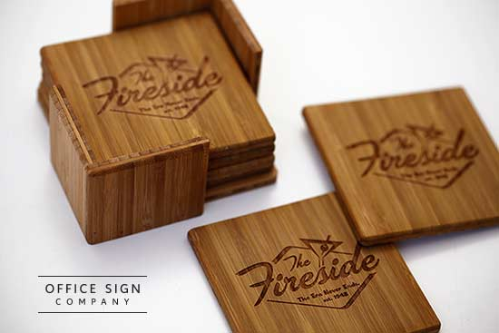 Personalized Bamboo Coaster Set Engraved Coaster Set