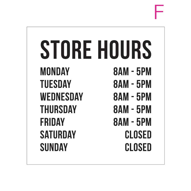 Hours of Operation Window Sign | Business Hours Sticker