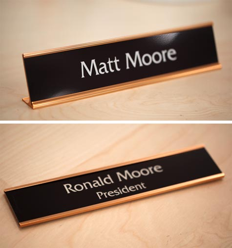 Warm Brown Office Signs Rose Gold Interior Signs Desk Signs