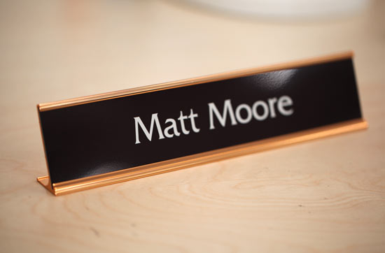 Warm Brown Office Signs | Rose Gold Interior Signs, Desk Signs