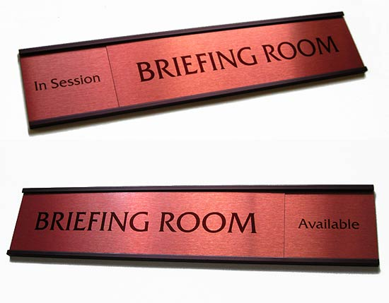 Premium Office Signs in Warm Brown Colors | Sliding Office Signs ...