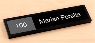 Engraved Interchangeable Nameplate with Permanent Room Number