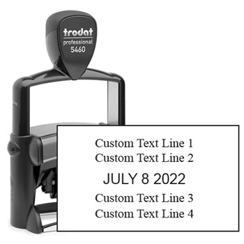 Trodat 5460 Self Inking dater Stamp with Custom Text Area