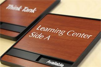Sliding Wood Conference Room Signs In Session and Available