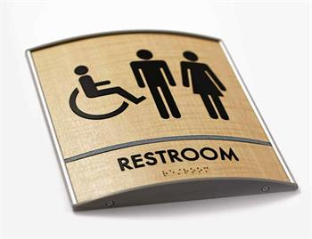 Bathroom Sign Curved