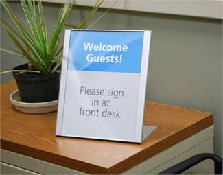 Reception Area Desktop Signs and Front Counter Signs