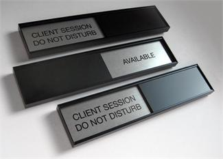 sliding office door signs black gsa slider meeting in session door