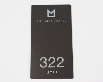 Hotel Room Number Signs with Braille