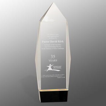 Multi-faceted Crystal Award with Black Base