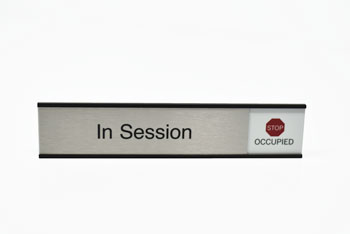 Aluminum In Session Sliding Sign with Vacant and Occupied Tabs