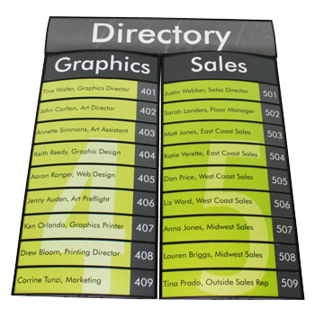 Interchangeable Directory Sign with Columns