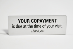 Copay and Copayment signs - Hospital Copay Signs