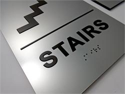 ADA Braille Sign with Stairs Graphic