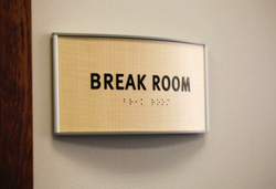 Brake Room Office Sign Curved