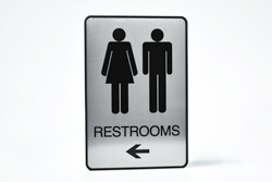 Brushed Metal Restroom Signs with Frame