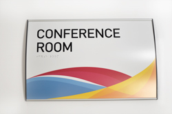 Curved Conference Room Signs with Braille