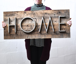 Dimensional Metal Letters with Reclaimed Wood Sign