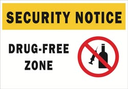 Security Notice - Drug Free Zone Full Color Decal