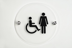 Frosted Acrylic Round Restroom Signs