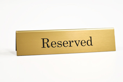 Tent signs - Reserved Tabletop Sign